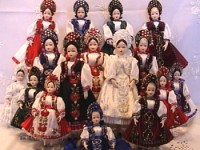 Handpainted porcelain dolls in traditional Kalotaszeg folk costumes