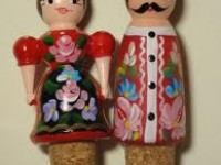 Handpainted wooden cork pair